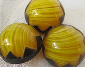 Reserve for Karen Set of 3 VINTAGE Dome Striated Yellow Glass with Peak Black Trim  BUTTONS