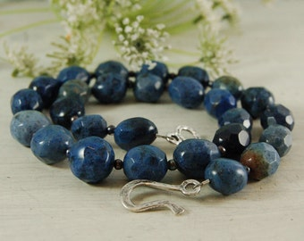 Dumortierite  Necklace Blue Stone Necklace Periwinkle Serling Silver