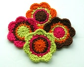 NEW Crochet Flower Motifs in Hot Pink Orange Lime and Brown