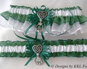 Irish Wedding Garters Celtic Heart Knot Charms Irish Charms Hunter Green and White Garters