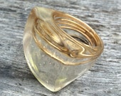 Large Square Clear Resin Ring w/ Embedded Brass Wire