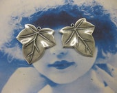 Silver Ox Plated Brass Leaf Charms 51SOX x2