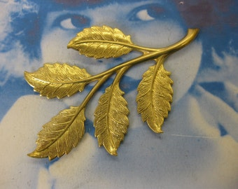 Raw Brass Large Leaf Branch With or Without a hole 59RAW  x1