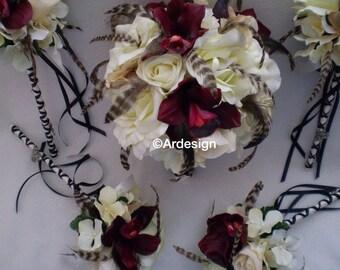 TRUE ROMANCE  Wedding Bouquet With Chinchilla Feathers