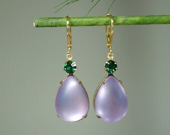 Vintage Amethyst Acrylic Teardrop Emerald Swarovski Crystal Prong Setting Earrings.