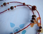READY TO SHIP - Extra Long 40-inch Burgundy Red Stone and Round Glass Beaded Necklace - Bella Mia Beads