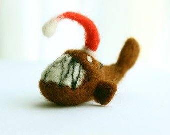 Surprise - Felt Christmas ornaments -  angler fish  - needle felted - funny ornament