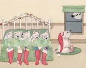 West Highland Terrier (westie) family all tucked in waiting for Santa / Lynch signed folk art print