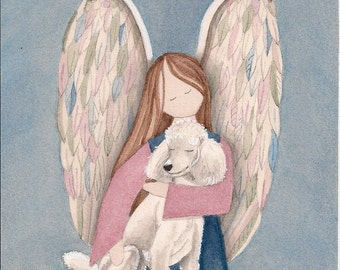 Standard bred white poodle with angel / Lynch signed folk art print