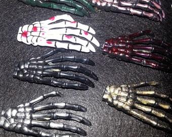 Skeleton hands, skeleton clip, black skeleton, glitter zombie, glitter, zombie hands, glitter barrette, Horror, Horror clip, Zombie Barrette
