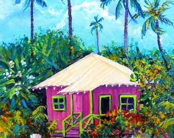 Whimsical Pink Plantation Cottage 8x10 Print  from Kauai Hawaii by Marionette blue green hot pink