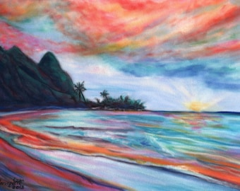 Kauai Bali Hai Sunset 5x7 Art Print from Kauai Hawaii peach pink teal blue orange beach ocean