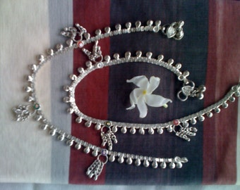 Authentic Indan Anklets - single or pair - Indian Silver