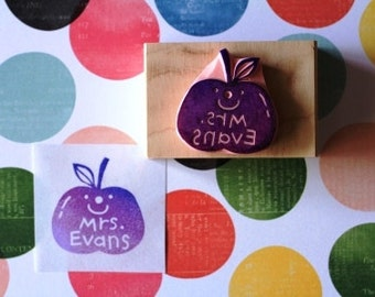 Teacher's stamp with name - hand carved rubber stamp