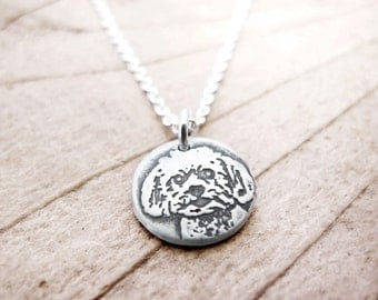Tiny Maltese necklace, silver Maltese jewelry, pet memorial jewelry remembrance necklace