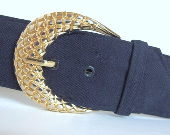 Vintage 1980's Wide Navy Blue Belt, Modern Size 6 to 8, Small