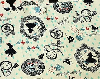 Japanese Cotton Fabric (Kokka) - Alice in Wonderland - Half Yard