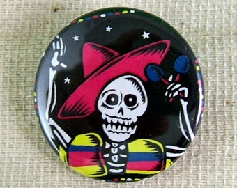 Festive Calaca Maraca Pinback Button - Package of 2
