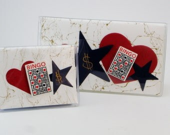 Bingo Set Checkbook Cover with Credit Card Case