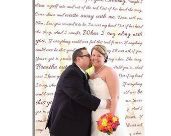 Personalized Unique Wedding Present Photo and writing typography one of a kind gift  canvas 18X24