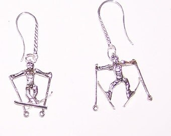 Sterling Silver 3D Moveable SNOW SKIER Earrings -  French Earwires - Sports