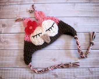 Crochet Baby Hat, Girl Owl Hat, Baby Girl Hat, Crochet Owl Hat, Newborn Owl Hat, Infant Owl Hat, Baby Animal Hat, Pink, Sleepy Owl