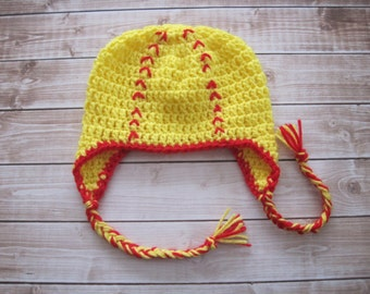 Baby Softball Hat, Crochet Baby Hat, Baby Boy Hat, Baby Girl Hat, Photo Prop, Newborn Hat, Infant Hat, Baby Sports Hat, Red, Yellow,