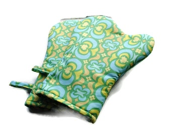 Handmade Oven Mitts set of 2 Amy Butler Blue Green Yellow