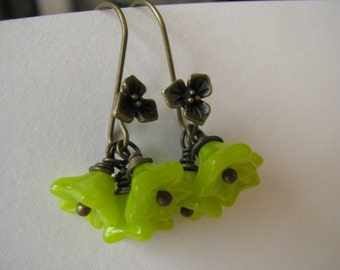 Lime Green Earrings, Lime Green Flowers, Green Blossom and Antique Bronze Earrings