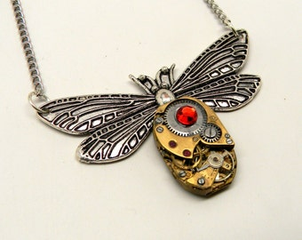 Steampunk jewelry. Steampunk dragonfly necklace pendant