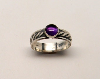 Sterling silver stacking ring with amethyst gemstone