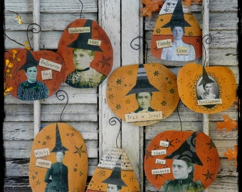Halloween Witch ornaments PDF 2 collage sheets - ornies tags vintage digital pattern