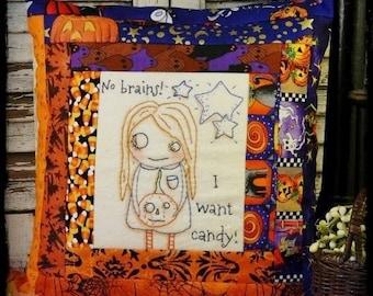 Halloween ZOMBIE embroidery Pattern PDF - prim no brains candy stitchery primitive pillow quilt Pumpkin