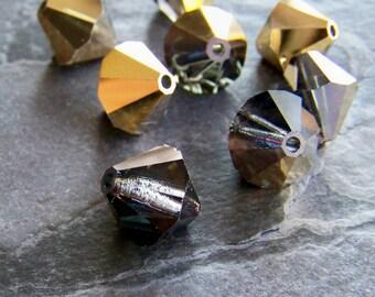 Preciosa Crystal Aurum Half Coat Large 12mm Rondell Bead-Bicones-8 Beads