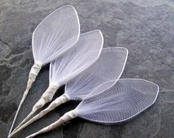 Vintage Millinery-Vintage White Nylon Netting Leaf Wing Dyable Millinery Stems-Bride Bridal Wedding-1 Dozen