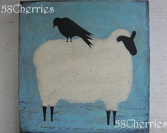 Shabby Sheep Canvas with Crow - Original - Easter Decor -French Prim Decor and Folk Art - Grubby Primitive Style
