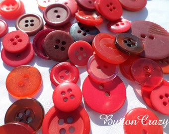 50 Shades of RED Vintage Buttons