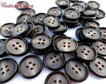 50 Dark 4-Holed BROWN Black Vintage BUTTONS for Sewing Crafts Scrapbooking Cardmaking