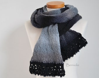 Knitted scarf, shades of grey with lace crochet trim and glass pearl beads K125