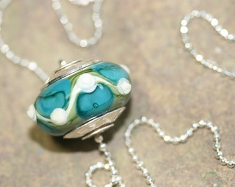 Blue, Green and White Handmade Lampwork Glass Focal Bead Necklace w/ Sterling Silver, Art Glass Jewelry, Modern, Contemporary, Ocean Colors
