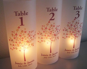 Personalized Wedding Luminary Table Numbers with Fall Tree
