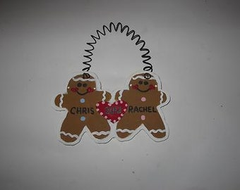 Gingerbread Couple Christmas Ornament - Personalized