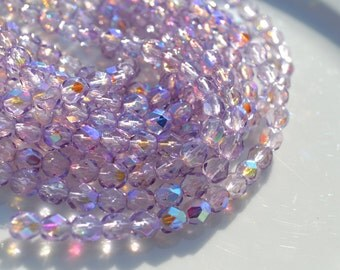 Light Amethyst AB 6mm Faceted Fire Polish Round Beads 25