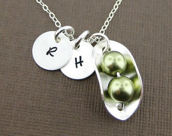 Two PEAS IN A POD Necklace with Two Initial Charms - Sterling silver and Green Swarovski Crystal Pearls (NP008)