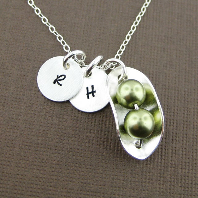 Two Peas In A Pod Necklace With Two Initial Charms Sterling