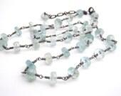 Aquamarine Strand Necklace, Rosary Style, Oxidized Sterling Silver, Aqua Blue, Black, March Birthstone