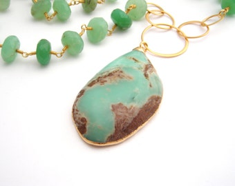 Chrysoprase Pendant Necklace, Rosary Style, Gold, Mint Green, Brown, Statement Necklace, Large Pendant