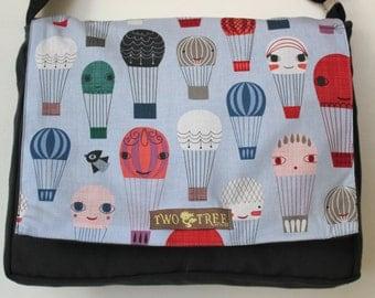 Black Hot Air Balloon MESSENGER Book Laptop iPAD Diaper BAG