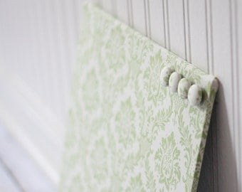 Wall Mount Magnet Board 12inx12in No Frame - Green Damask on Linen White