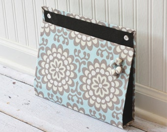 Large Wall Organizer Pocket, Magnet Board, File and Mail Holder - Amy Butler Lotus Fabric